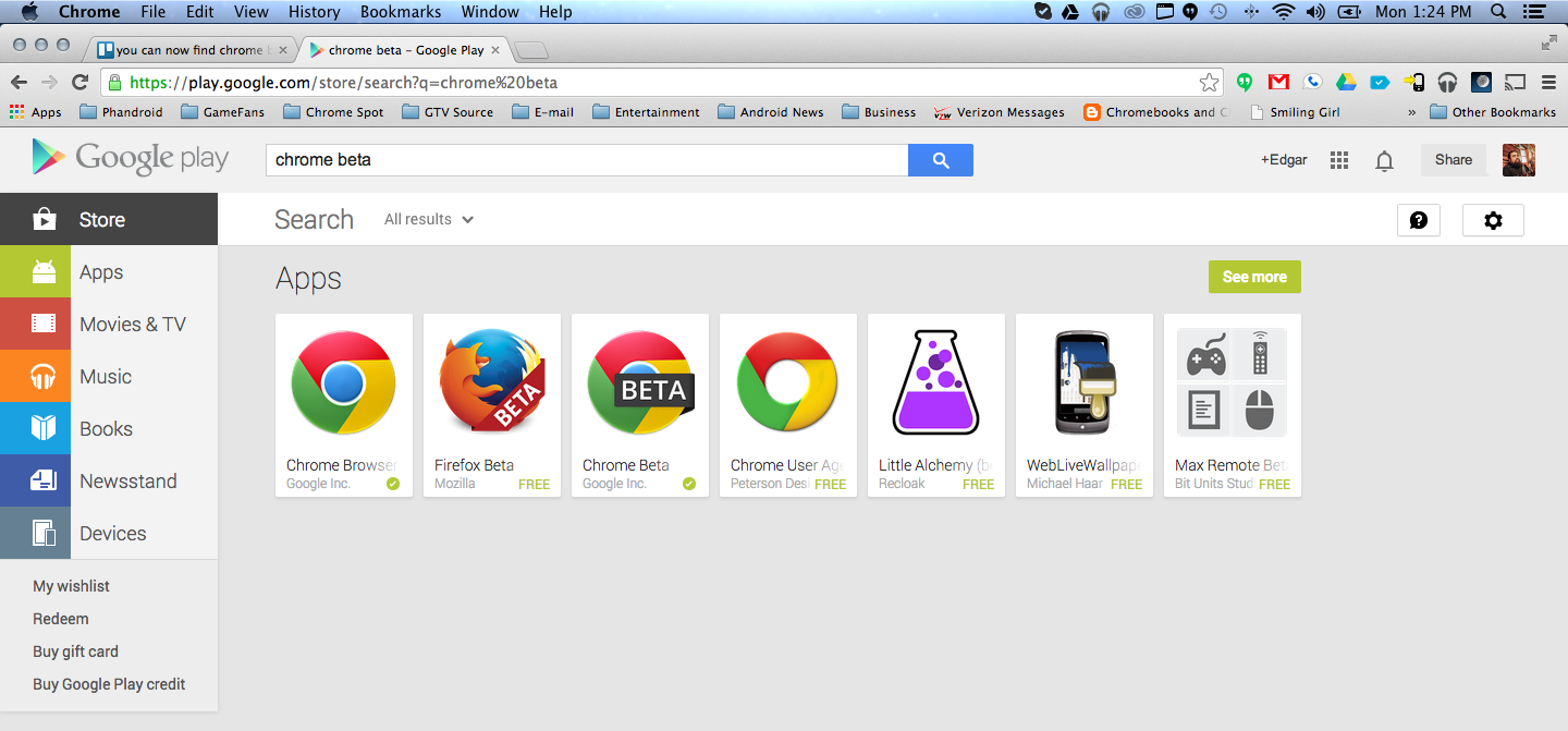 Chrome Beta now appears as a search result in the Google