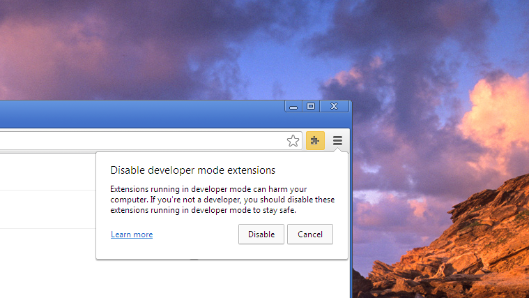 Chrome will notify which extensions were manually installed