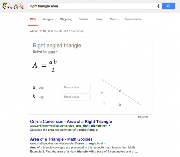 google can help you do your geometry homework google chrome  right triangle formula